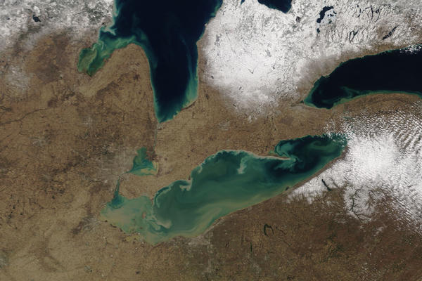 Satellite picture of Lake Erie.