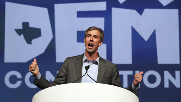 Beto O'Rourke speaks at the Texas Democratic Convention in June. The winner of the party's U.S. Senate primary has embraced progressive positions — at times including impeaching President Trump.