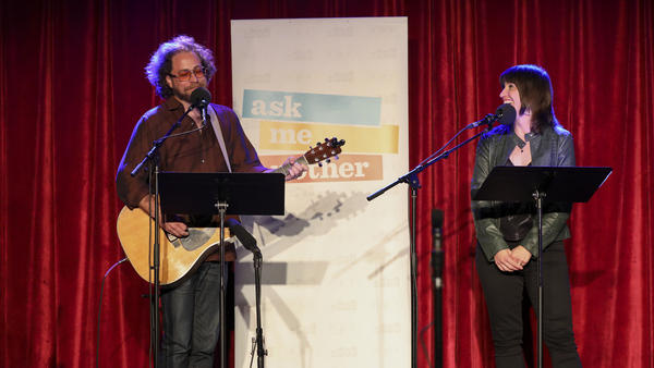 House musician Jonathan Coulton leads a music parody game alongside Ophira Eisenberg on Ask Me Another at the Bell House in Brooklyn, New York