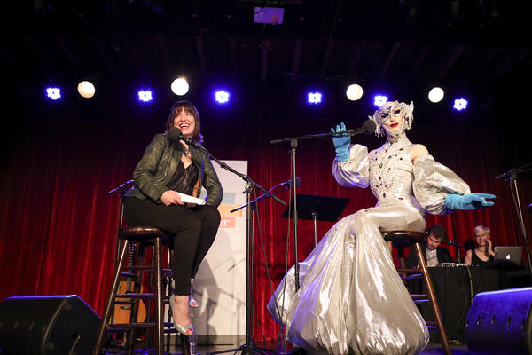 Host Ophira Eisenberg and Sasha Velour strike poses on Ask Me Another at the Bell House in Brooklyn, New Yor