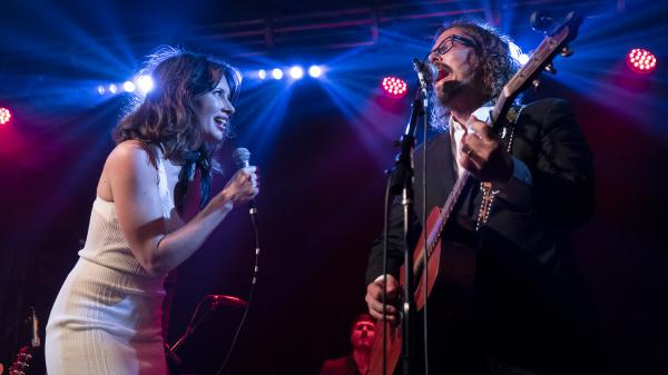 Lera Lynn (left) with John Paul White (right) performing at Lynn's record release concert in Nashville.