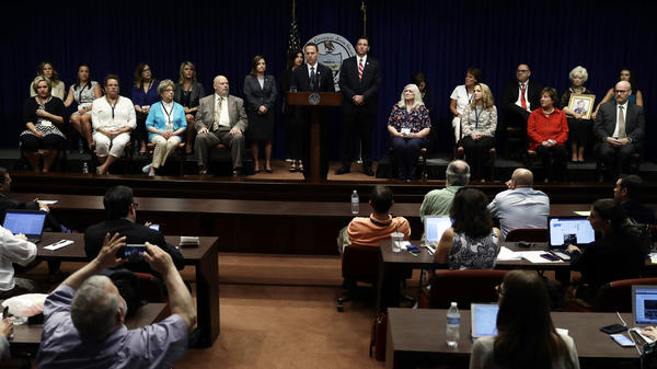 Pennsylvania Attorney General Josh Shapiro speaks during a news conference at the Pennsylvania Capitol on Tuesday. A Pennsylvania grand jury says its investigation of clergy sexual abuse identified more than 1,000 child victims in records in six Roman Catholic dioceses.