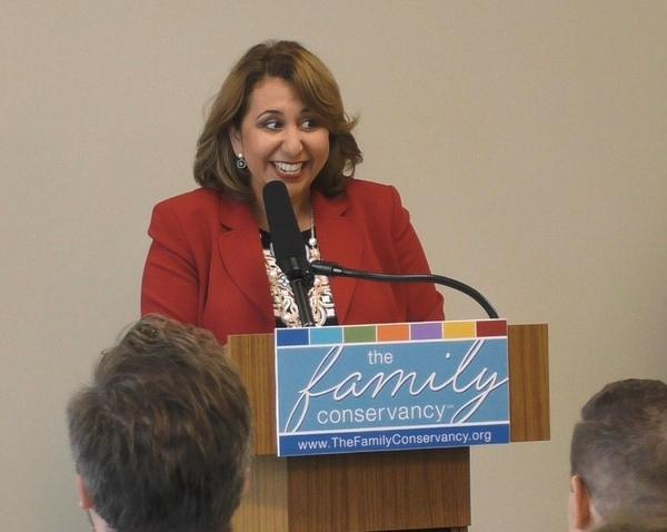 The Family Conservancy board member Sandra Olivas, a native of Wyandotte County, explains how the business community came together to provide $1 million in matching funds for the Start Young pre-K initiative.