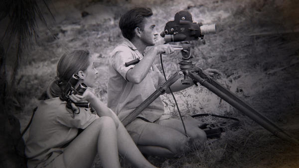 Gombe, Tanzania: Jane Goodall watches as Hugo van Lawick operates a film camera. (Jane Goodall Institute)