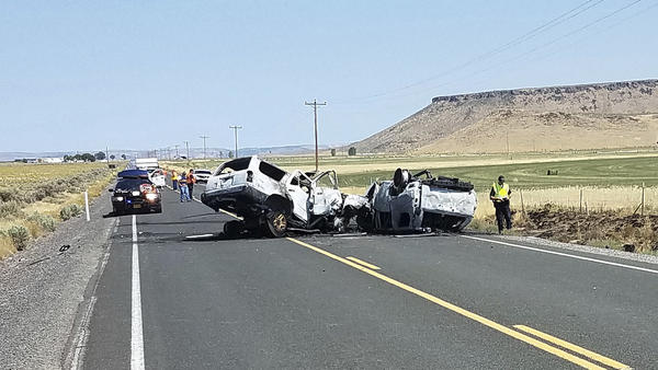 The scene of a fatal car crash outside Burns, Ore., earlier this month.