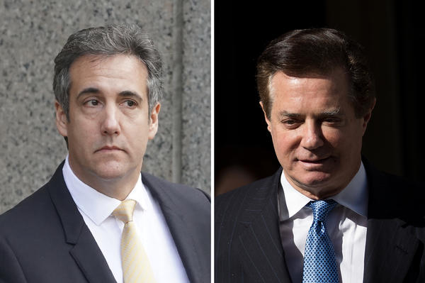The two high-profile people close to President Trump, Michael Cohen (left) and Paul Manafort, were either found guilty or pleaded guilty to multiple federal crimes Tuesday. It was the closest Trump has been tied to potentially criminal acts as president.