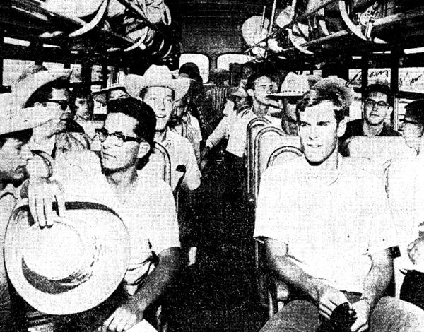 San Diego high school students await a bus ride to Blythe, Calif., to go pick cantaloupes in the summer of 1965. They were recruited as part of the A-TEAM, a government program to replace migrant farm workers with high school students.