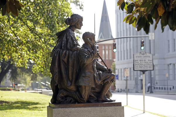 A historical commission decided that Confederate monuments at the state Capitol building in Raleigh, including this one recognizing the North Carolina women of the Confederacy, will not be moved.