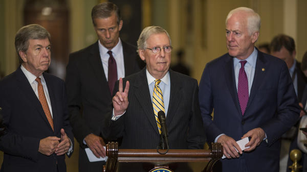 Senate Majority Leader Mitch McConnell spoke at a weekly news conference in Washington on Tuesday, the same day as double headlines about Paul Manafort and Michael Cohen — but McConnell declined to comment on their legal troubles.