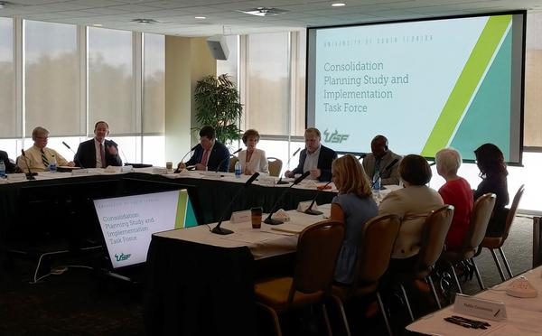 The USF Consolidation Task Force held its first town hall meeting in Tampa Wednesday. Similar meetings on the USF St. Petersburg and USF Sarasota-Manatee campuses will be held in Sept. and Oct.