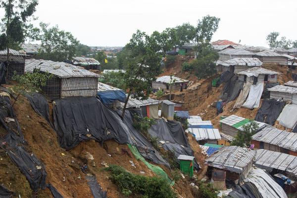 Makeshift shelters in the Balukhali Rohingya refugee camp in Bangladesh. During monsoon rains, thousands were moved to more secure shelters at the edge of the camp.