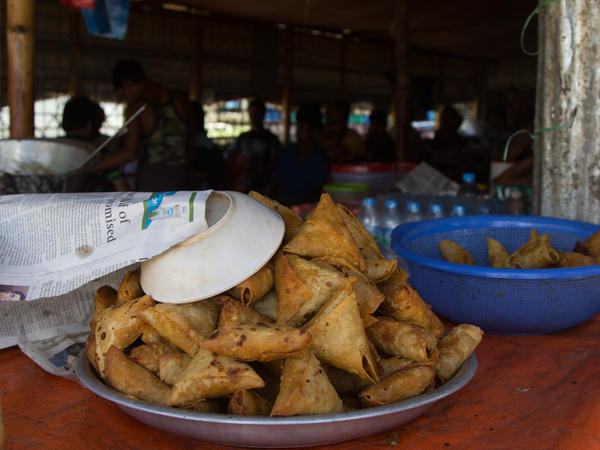 The Police Station Restaurant in the Balukhali 2 refugee camp sells fresh samosas, tea and soft drinks.
