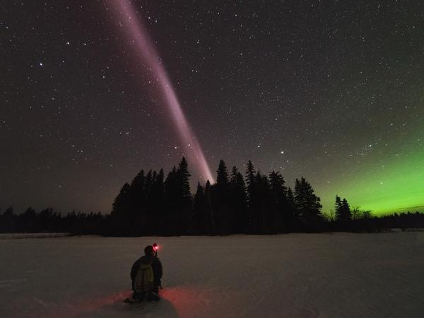 Alberta Aurora Chasers captured STEVE in April in British Columbia, Canada. STEVE is the narrow ribbon of white-purple hues overhead, and the vibrant green light on the right is an aurora located further north.