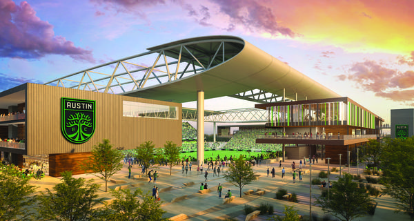 An artist's rendering of the stadium at McKalla Place with Austin FC branding.