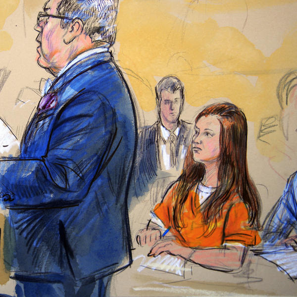 "Attorneys for Maria Butina, seen in this July courtroom sketch, say the government has ""smeared"" her with salacious allegations and want her to be freed ahead of her trial."