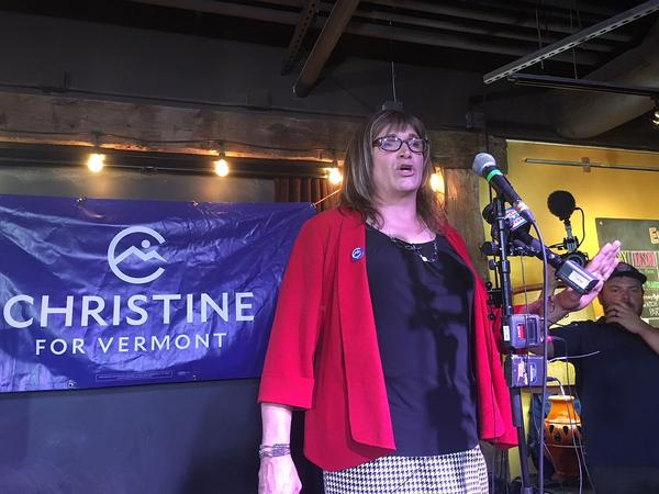 Christine Hallquist thanks supporters during an election-night victory speech on Aug. 14. Hallquist's campaign said she's received several threatening correspondences since she won the primary.