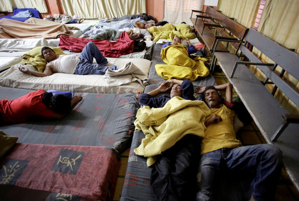 Nicaraguan refugees fleeing their country due to unrest sleep in a Christian church in San José, Costa Rica, on July 28.