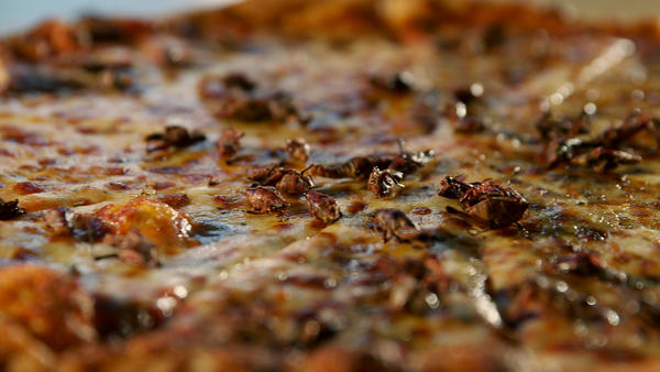 """Crickets on a pizza? Chef David George Gordon likens the insects to crawfish. Chef Joseph Yoon agrees, calling them """"gateway bugs."""""""