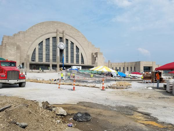 Crews work on replacing Union Terminal's exterior pavilion and fountain in June 2018.
