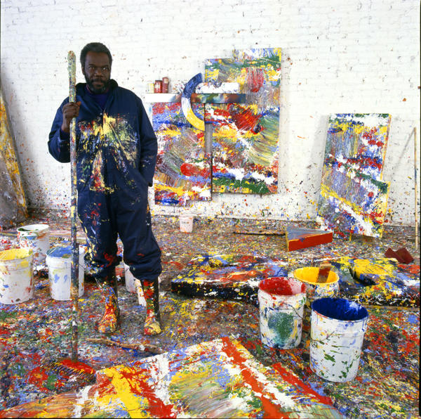 Gilliam poses in his paint-splattered Washington, D.C., studio in 1980.