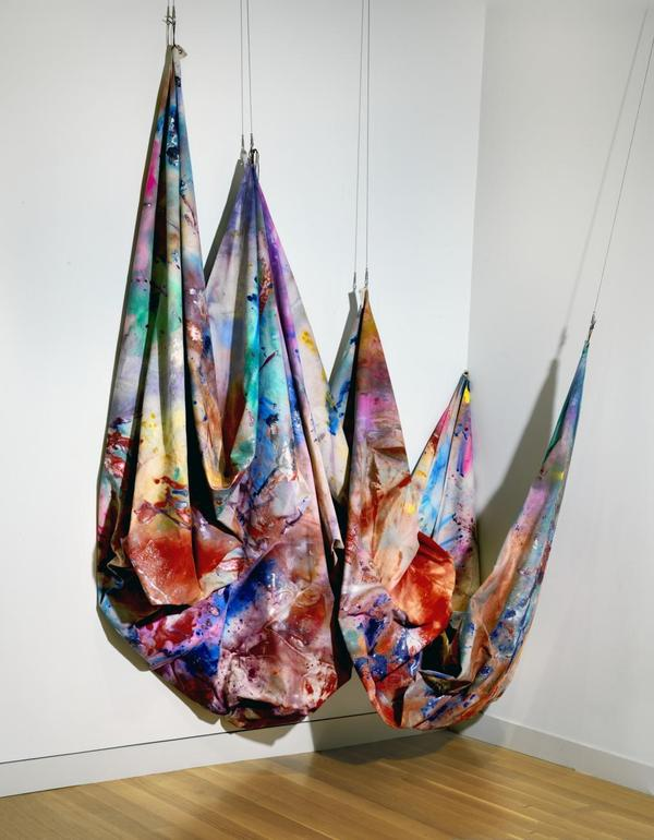Artist Sam Gilliam is known for his vibrant, draped fabrics such as <em>Swing </em>from 1969.