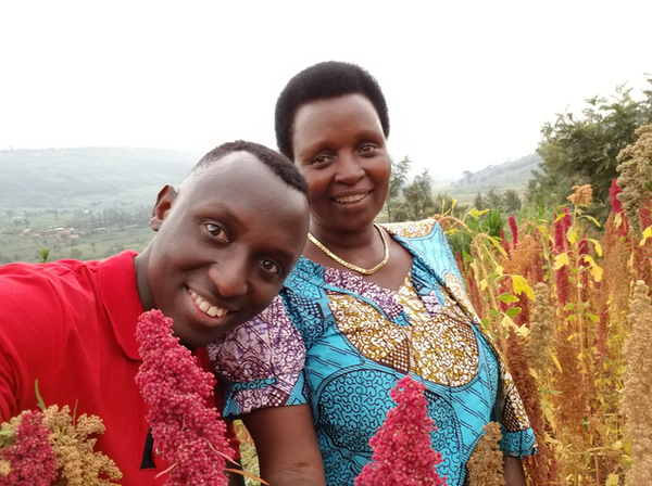 Cedric Habiyaremye and his mother, Agnes Mukankwaya, on a quinoa farm in Rwanda.