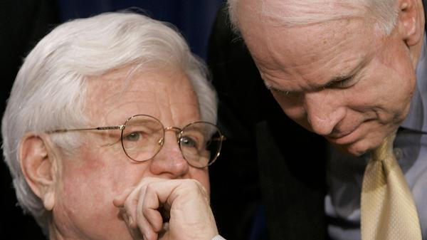 Sens. Ted Kennedy of Massachusetts and John McCain of Arizona, talk during a news conference on their effort at a comprehensive immigration overhaul in 2006.