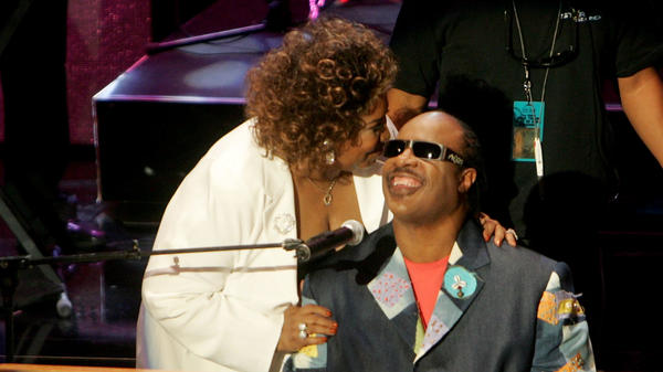 Aretha Franklin and Stevie Wonder onstage at the 10th Annual Soul Train Lady of Soul Awards, held at the Pasadena Civic Auditorium on September 7, 2005.