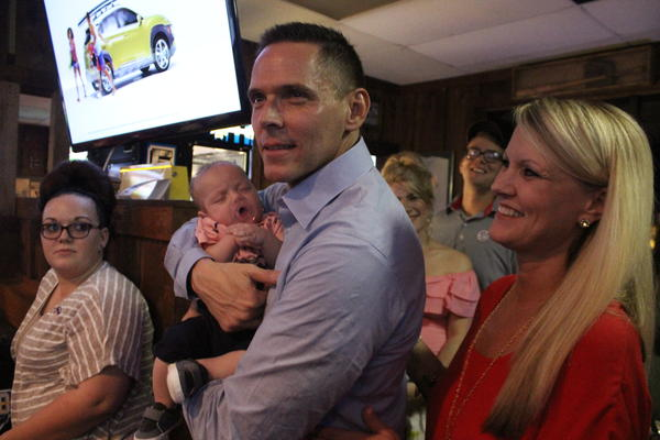 Republican state Representative Ross Spano delivered his victory speech alongside his family on Tuesday night at the original Beef 'O' Brady's in Brandon.