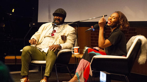 Jazz singer Gregory Porter and NPR's Audie Cornish at a live interview at NPR Headquarters in Washington, D.C. on June 27, 2018.