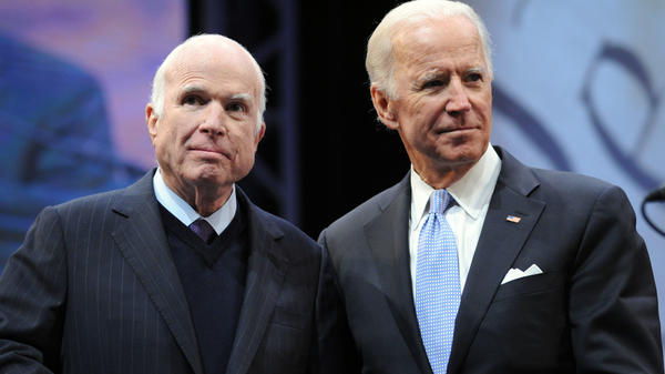Sen. John McCain, R-Ariz., receives the the 2017 Liberty Medal from former Vice President Joe Biden at the National Constitution Center on October 16, 2017, in Philadelphia, Pa.
