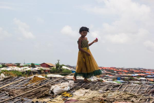 A girl picks a flower from the roof of a shelter in the Kutupalong Rohingya refugee camp in Bangladesh. The flower had sprouted from a sandbag used to weigh down the plastic and bamboo roof.