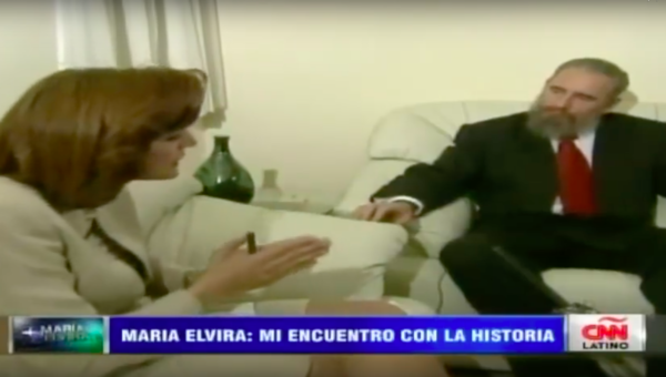 Then TV journalist Maria Elvira Salazar interviewing the late Cuban leader Fidel Castro in 1995