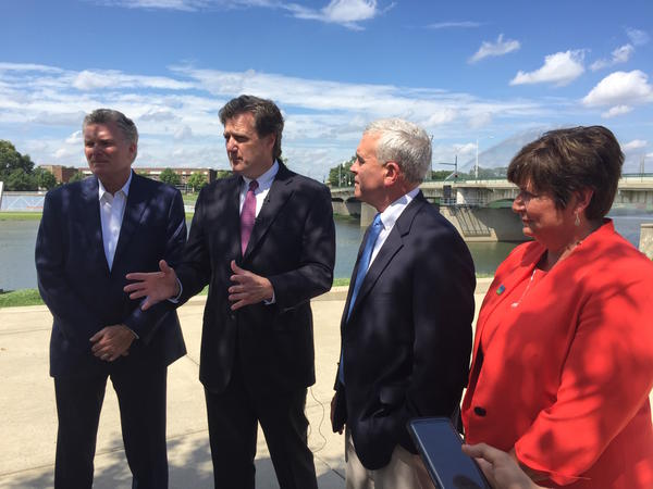 From Left to Right: Charlie Simms, president of Simms Development, Congressman Mike Turner (OH-10), Congressman Brad Wenstrup (OH -2), and Rebecca Benná, executive director of Five Rivers MetroParks.