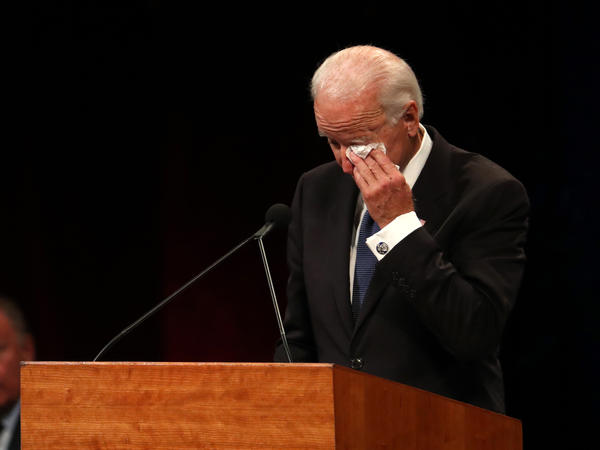 "Joe Biden, speaking at a memorial service for John McCain, noted that he had given a lot of eulogies over the years. But ""this one's hard,"" he said."