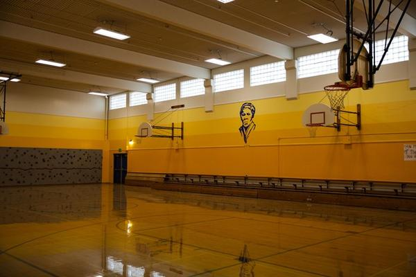 <p>The gymnasium at Harriet Tubman Middle School features a portrait of the school's namesake.</p>