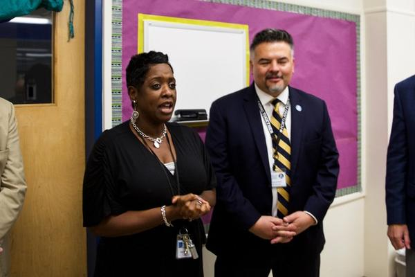 <p>Tubman Middle School Principal Natasha Butler, left, and PPS Superintendent Guadalupe Guerrero speak to reporters.</p>
