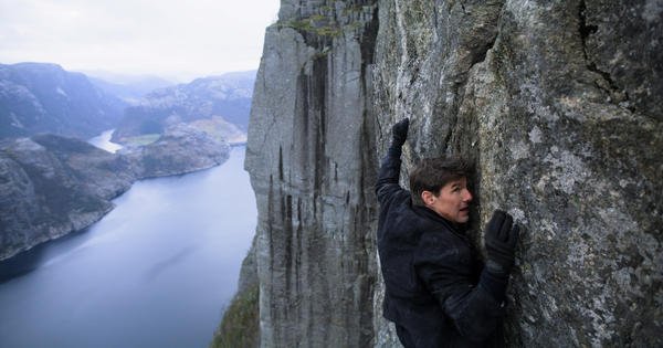 Tom Cruise as Ethan Hunt in <em>Mission Impossible — Fallout. </em>In this scene, he's just flown a helicopter from a medical camp in Kashmir.