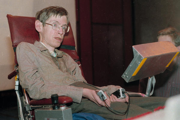 Hawking, shown in Chicago in 1986, was the Lucasian Professor of Mathematics, a post once held by Sir Isaac Newton.