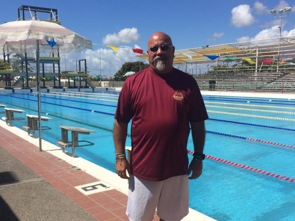 Swim coach Fernando Delgado at the Germán Rieckehoff Olympic Village in Salinas, Puerto Rico.