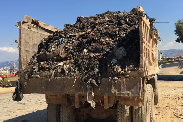 A truck transports waste in Lebanon.