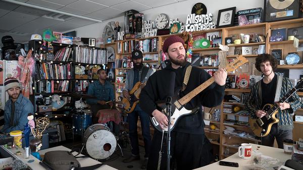Nick Hakim performs a Tiny Desk Concert on Dec. 13, 2018 (Jennifer Kerrigan/NPR).