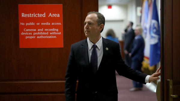 Rep. Adam Schiff, D-Calif., the top Democrat on the House intelligence committee, leaves a committee meeting at the U.S. Capitol Feb. 5, 2018 in Washington, DC. On Feb. 25, Schiff released a memo responding to a previous Republican memo about the investigation of President Trump's 2016 campaign.