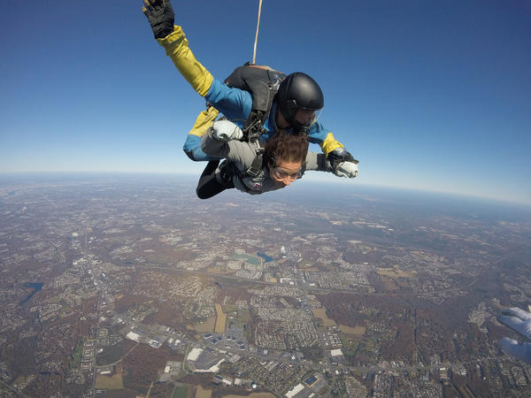 The author skydives over Pennsylvania.