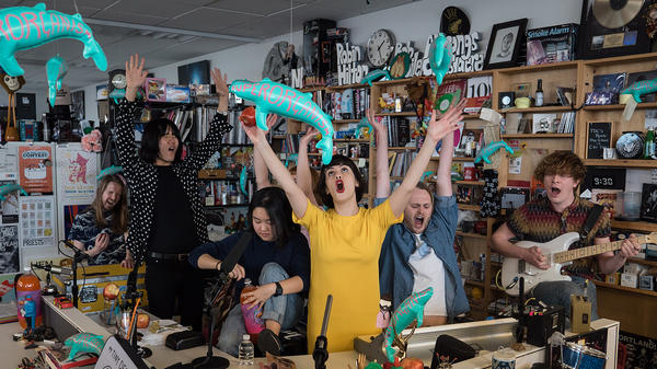 Superorganism performs a Tiny Desk Concert on April 3, 2018 (Jenna Sterner/NPR).