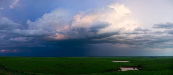 A thunderstorm rolls through the Flint Hills in central Kansas