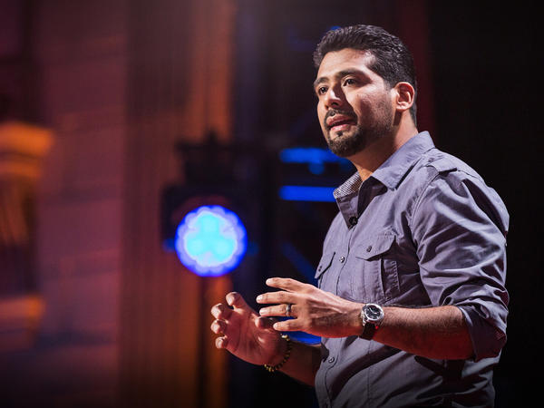 Victor Rios on the TED stage.