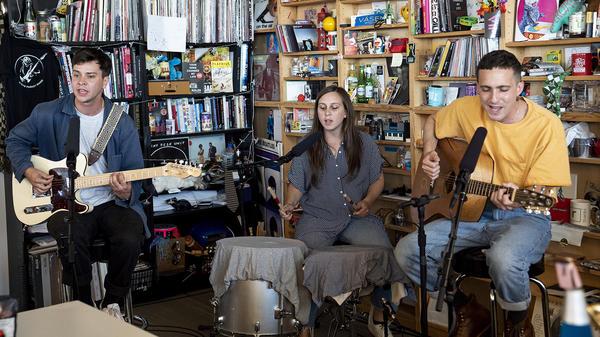 Flasher performs a Tiny Desk Concert on July 9, 2018 (Eslah Attar/NPR).