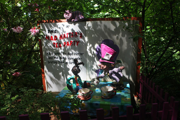 A scene from Storybook Lane features The Mad Hatter from <em>Alice's Adventures in Wonderland.</em>