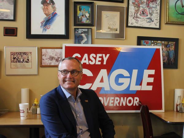 Georgia Lt. Gov. Casey Cagle at a campaign rally for governor at The Redneck Gourmet, a restaurant in downtown Newnan, Ga. Less than a week before the primary runoff election, President Trump endorsed Cagle's opponent, Brian Kemp.